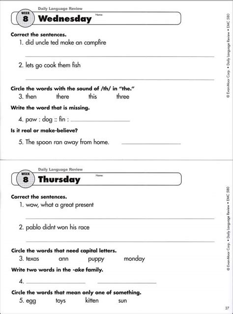 daily language review grade 2 worksheets 15 best images of daily grammar worksheets daily