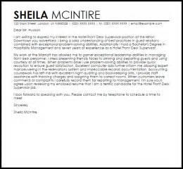 hotel front desk supervisor cover letter sle livecareer