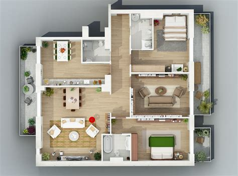house plans with apartment apartment designs shown with rendered 3d floor plans