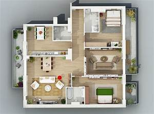 Apartment, Designs, Shown, With, Rendered, 3d, Floor, Plans