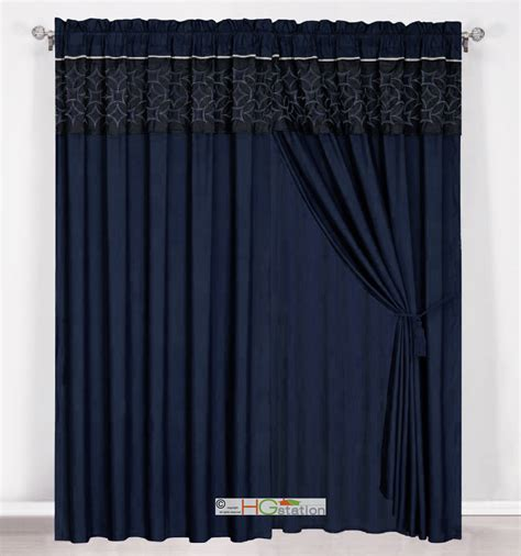 4 pc embroidered medallion geometric curtain set navy blue