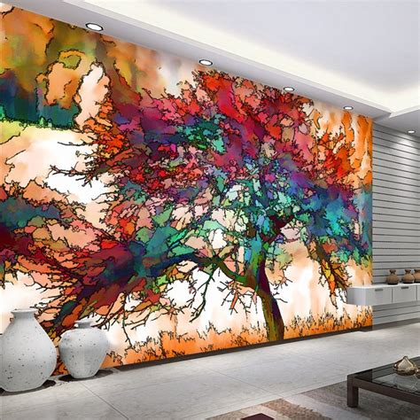 wallpaper modern abstract art colorful tree photo wall