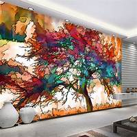 excellent abstract wall mural 3D Wallpaper Modern Abstract Art Colorful Tree Photo Wall Mural Restaurant Cafe Bar Mural ...
