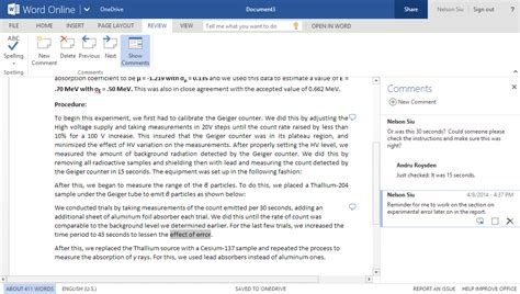 word  update comments list improvements