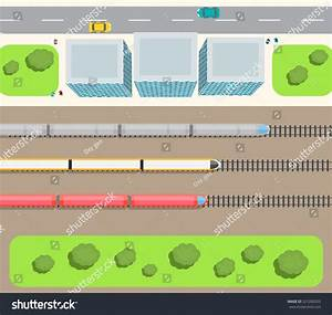 Railway Station Top View Trains Set Stock Vector 321200333 ...