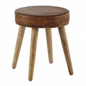 Maison Du Monde Tabouret : aaron mango wood and brown leather stool maisons du monde ~ Teatrodelosmanantiales.com Idées de Décoration