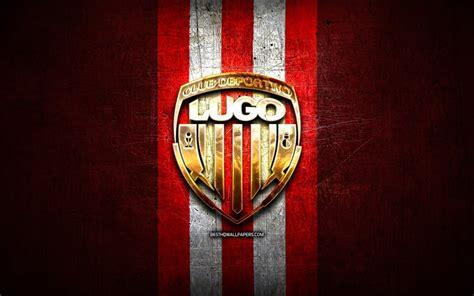 Download wallpapers Lugo FC, golden logo, La Liga 2, red ...