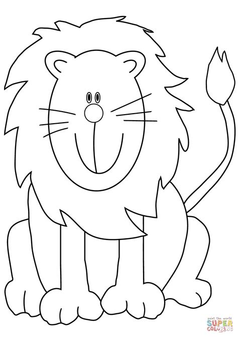 lovely cartoon lion coloring page  printable