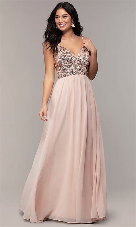 sequin bodice chiffon long prom dress promgirl
