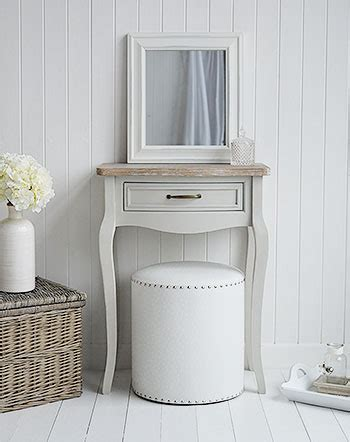 bridgeport small grey dressing table  white