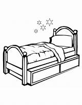 Bed Coloring sketch template