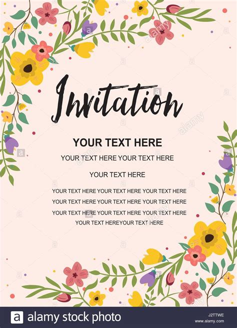 anniversary invitation card template colorful floral stock vector illustration