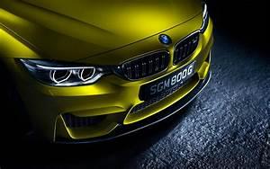 Fonds d'écran BMW M4 voiture jaune vue front allemand