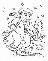 Pages Ski Colouring Children Coloring Skiing Printablecolouringpages Larger Credit sketch template