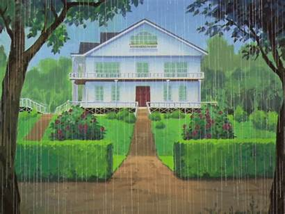 Rainy Raining Sunny Sky Animated Garden Nature