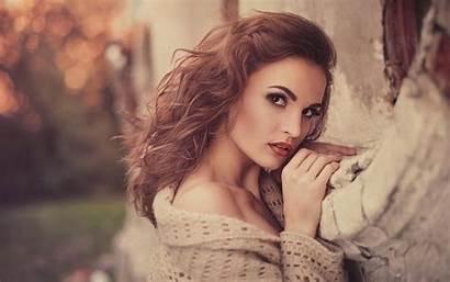 Brunette Wallpapers Hair Bra Sweater Woman Brown