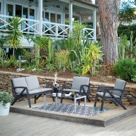 canap de jardin aluminium salon bas de jardin 4 personnes résine alu canapé 2