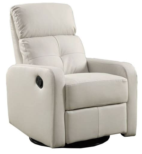 leather glider recliner with white bonded leather swivel glider recliner from monarch