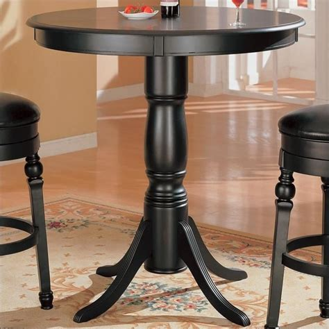 Coaster Lathrop Classic Round Pedestal Pub Table In Black