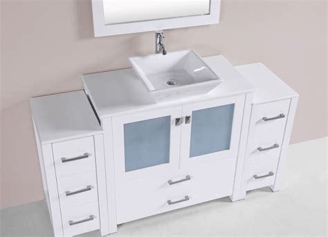 single vanity cabinet with vessel sink 60 quot newport white single modern bathroom vanity with 2