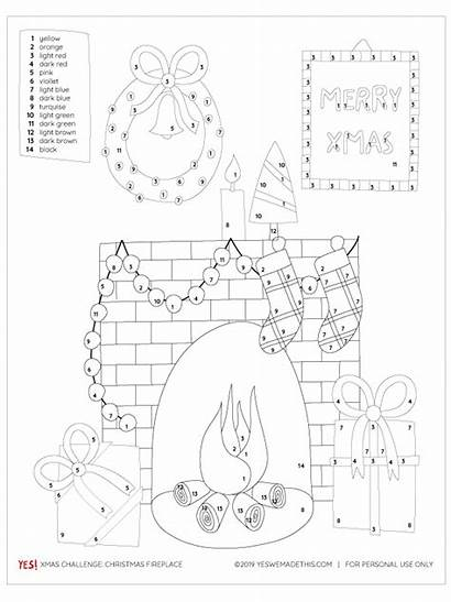 Christmas Number Fireplace Coloring Printable Yes Challenge