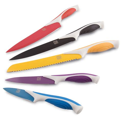 colored knife set set of 5 colored stainless steel multicolored knife set