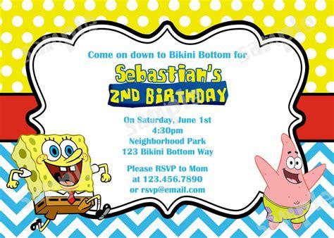 spongebob birthday card template printable spongebob birthday invitations