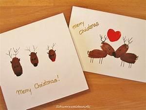 Weihnachtskarten Selber Basteln : schwarzwaldmaidli diy weihnachtskarten mit fingerabdruck rentieren ~ Frokenaadalensverden.com Haus und Dekorationen