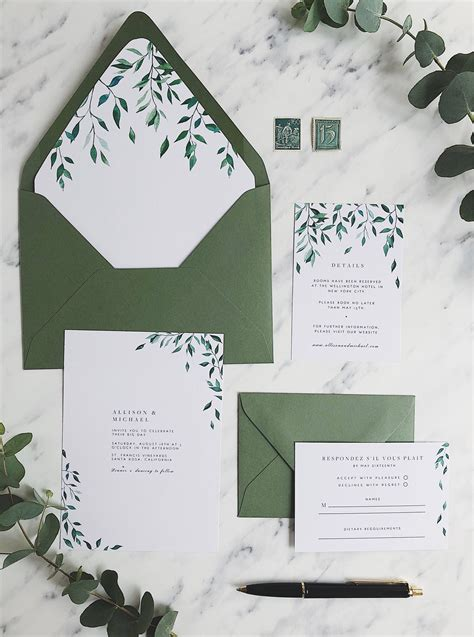 wedding invitation suite printable greenery wedding
