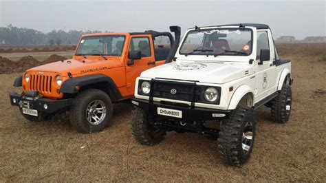 indian jeep modified jeep wrangler rubicon meets maruti gypsy in india soulsteer