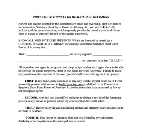 sample medical power  attorney form