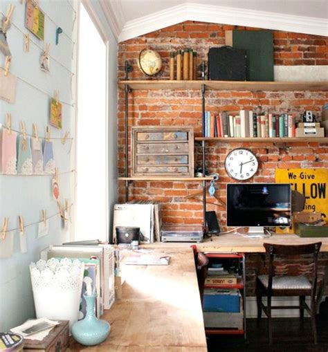 We are going to present you 15 cool examples of bold and creative home office. 10 Ways to Decorate an Exposed Brick Wall Without Drilling | Rustic home offices, Home office ...