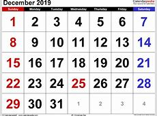 December 2019 Calendars for Word, Excel & PDF