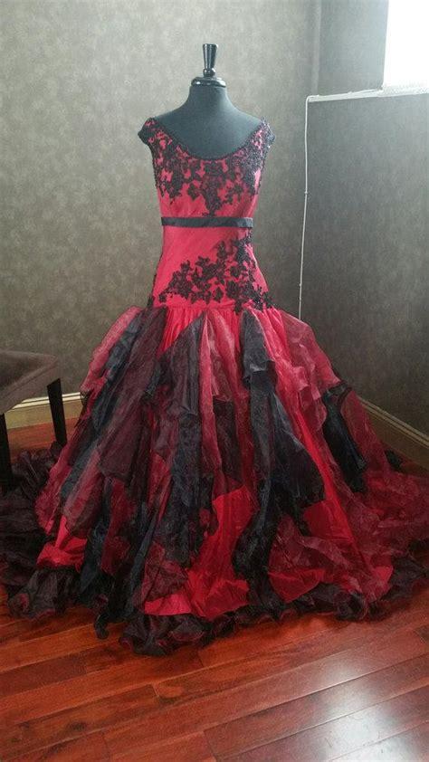 dark red and black gothic wedding dresses off the shoulder