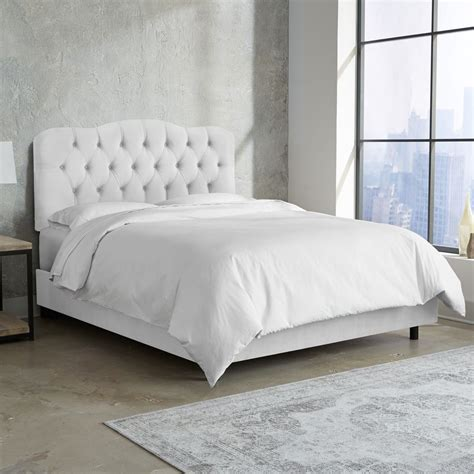 White Velvet King Headboard by Skyline Furniture Tufted Bed In Velvet White Ebay