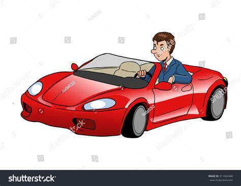 Cartoon Illustration Businessman Driving Sport Car Stock