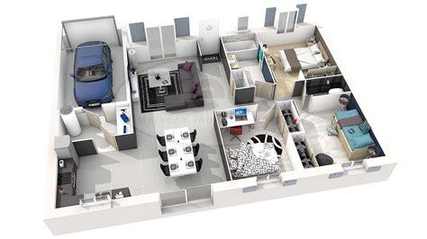 plan de maison 2 chambres plan maison 3d 3 chambres maison moderne