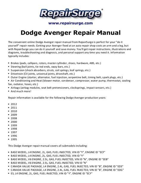 free online car repair manuals download 1995 dodge ram 2500 on board diagnostic system dodge avenger repair manual 1995 2012