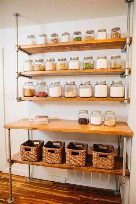 diy pantry shelves built  pipe fittings