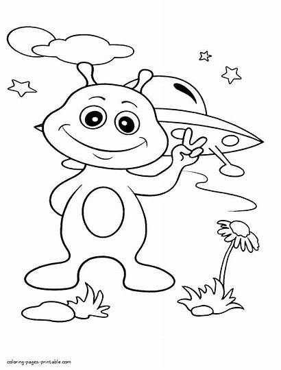 Coloring Space Alien Outer Printable Aliens Earth