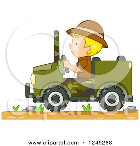 safari jeep cartoon clay sculpture clipart teenagers four wheeling in a jeep