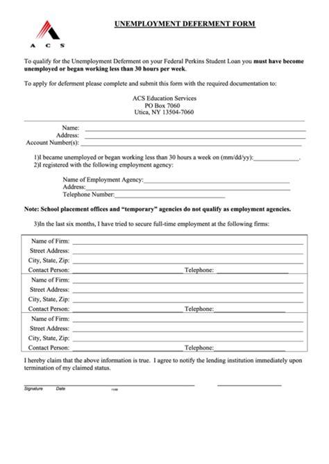 acs template acs unemployment deferment form printable pdf