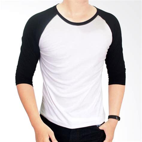 jual gudang fashion kaos polos pol 26 cotton combed 20s putih kombinasi hitam raglan