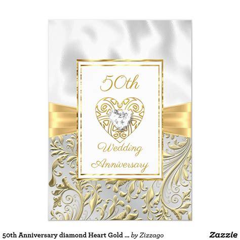 50th Anniversary diamond Heart Gold Bow Floral Invitation