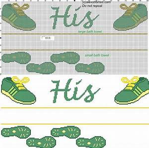 Bath towel with sneakers cross stitch pattern free cross for Bathroom cross stitch patterns free