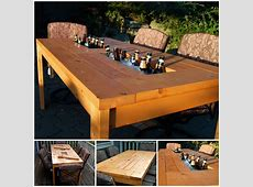Wonderful DIY Patio Table with Builtin Wine Cooler