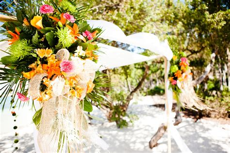 Tropical Wedding Reception Decor With A Beach Theme And