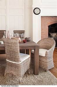 salle a manger en rotin kooboo gris chaise amelie kok With salle À manger contemporaine avec meuble en osier