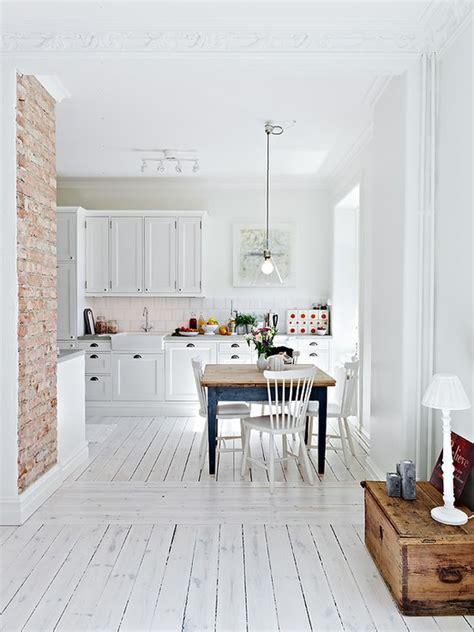 white brick floor decordots white kitchen and brick wall
