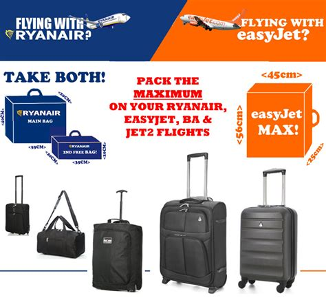cabin bag 55x40x20 ryanair easyjet airways ba max cabin luggage